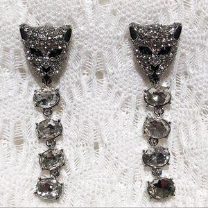 Rhinestone Encrusted Dangling Panther Earrings